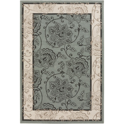 2.25' x 4.5' Green and Ivory White Floral Rectangular Area Throw Rug - IMAGE 1