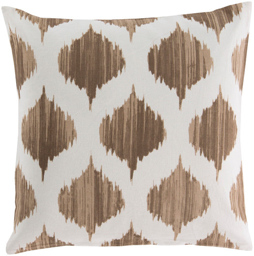 "18"" Brown and White Contemporary Geometric Square Throw Pillow - Down Filler - IMAGE 1"