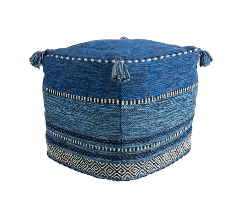 """18""""Jean Blue, Icy White, and Jet Black Contemporary Woven Foot Stool Ottoman - IMAGE 1"""
