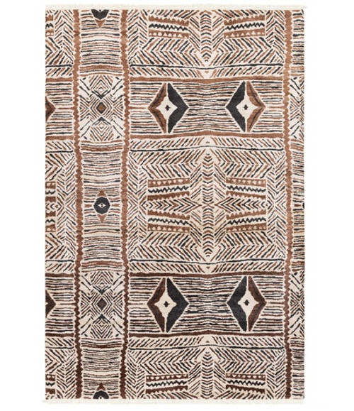 6' x 9' Tortilla Brown and Black Hand Knotted Rectangular Area Throw Rug - IMAGE 1