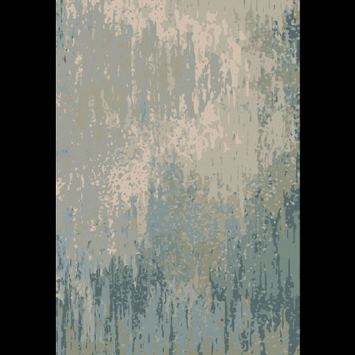 2' x 3' Blue and Gray Abstract Hand Knotted Rectangular Wool Area Throw Rug - IMAGE 1