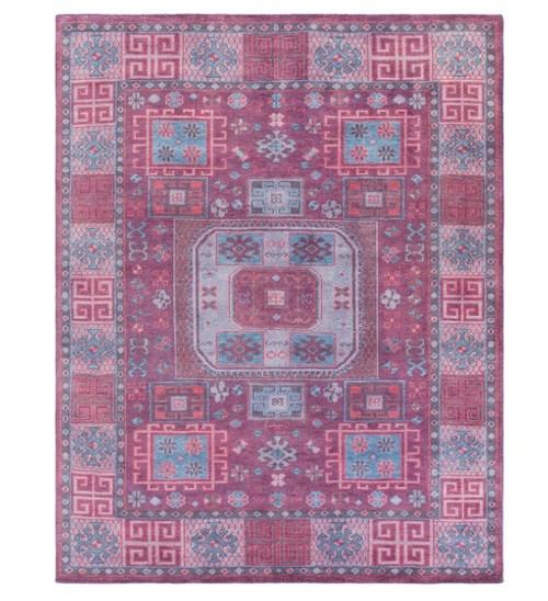 4' x 6' Persian Blue and Purple Hand Knotted Rectangular Wool Area Throw Rug - IMAGE 1