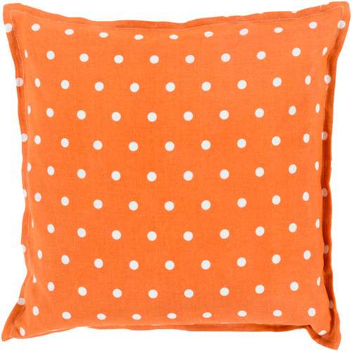 "20"" Orange and White Polka Dots Square Contemporary Throw Pillow - Down Filler - IMAGE 1"