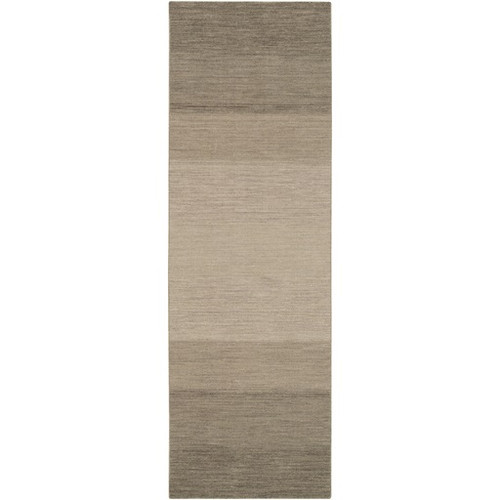 2.5' x 8' Taupe Brown and Steel Gray Hand Woven Rectangular Area Throw Rug Runner - IMAGE 1