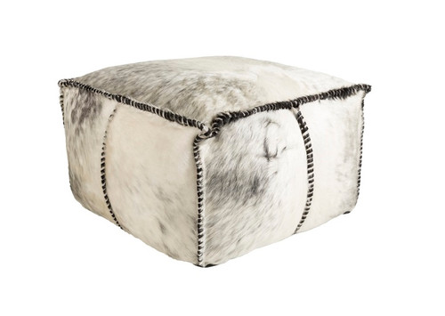 """22""""Smokey Gray and Moccasin White Transitional Rustic Foot Stool Ottoman - IMAGE 1"""