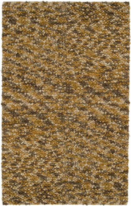 2' x 3' Contemporary Brown and Green Hand Woven New Zealand Wool Area Throw Rug - IMAGE 1
