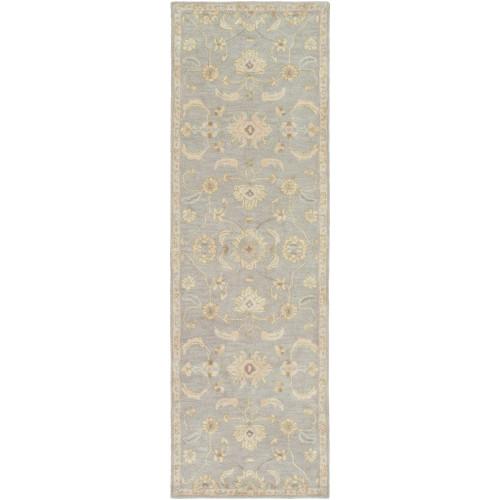 2.5' x 8' Elegant Leaves Slate Gray and Tan Brown Wool Area Throw Rug Runner - IMAGE 1