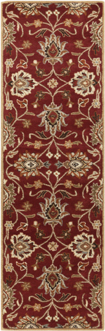 3' x 12' Floral Red and Beige Hand Tufted Rectangular Wool Area Throw Rug Runner - IMAGE 1