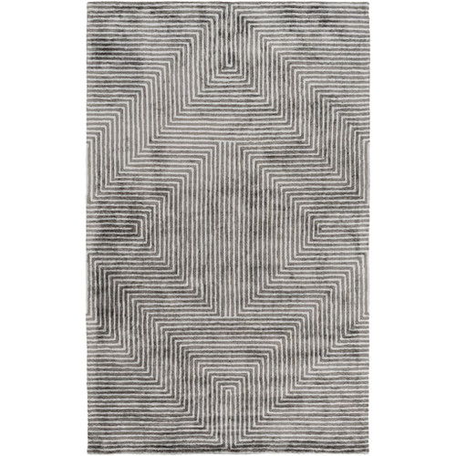 8' x 10' Bilateral Lines Charcoal Black and White Hand Tufted Area Throw Rug - IMAGE 1