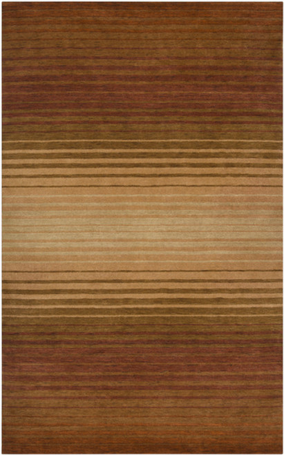 2' x 3' Contemporary Brown Hand Knotted New Zealand Wool Area Throw Rug - IMAGE 1