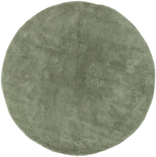 8' Green Hand Tufted Plush Round Area Throw Rug - IMAGE 1