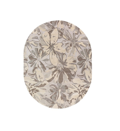 8' x 10' Floral Brown and Beige Hand Tufted Contemporary Oval Wool Area Throw Rug - IMAGE 1