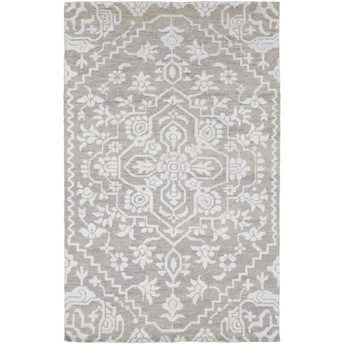 6' x 9' White and Gray Labyrinth Hand Knotted Rectangular Area Throw Rug - IMAGE 1