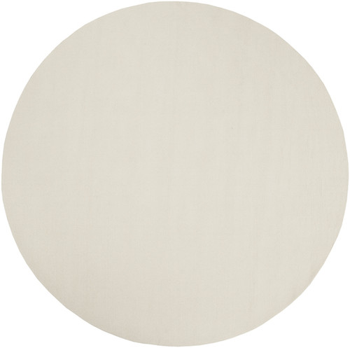6' Solid White Hand Loomed Round Wool Area Throw Rug - IMAGE 1
