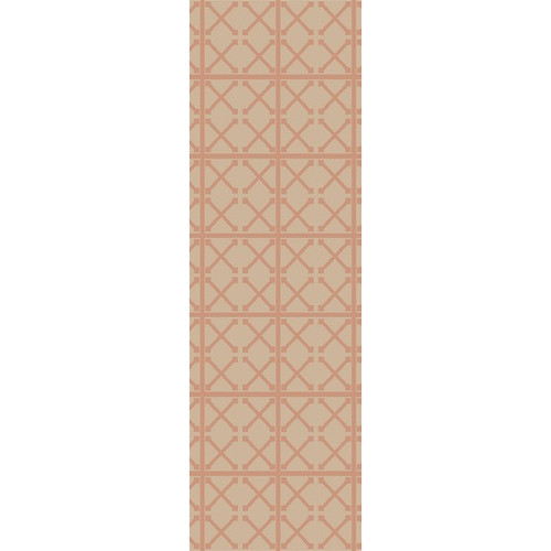 2.5' x 8' Yemeni Gateway Sand Brown and Coral Pink Area Throw Rug Runner - IMAGE 1