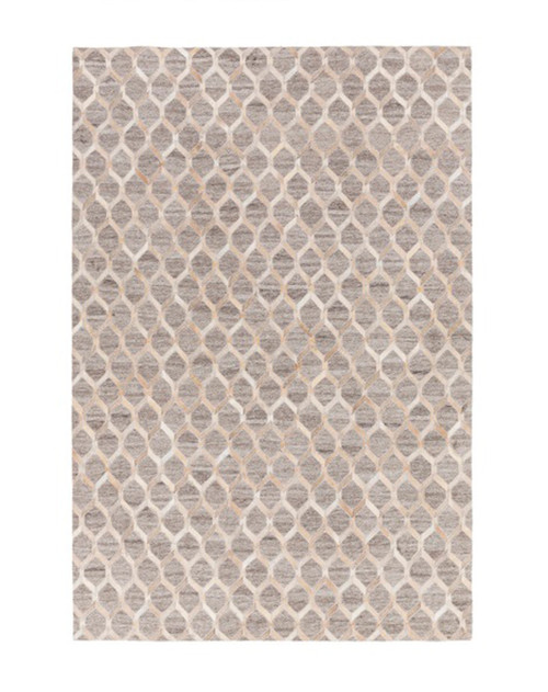 5' x 8' Geometric Gray and Beige Hand Crafted Rectangular Area Throw Rug - IMAGE 1