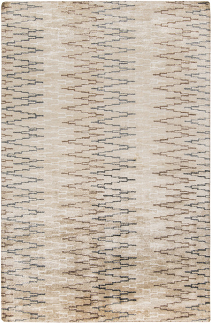 2' x 3' Beige and Gray Hand-Knotted Area Throw Rug - IMAGE 1
