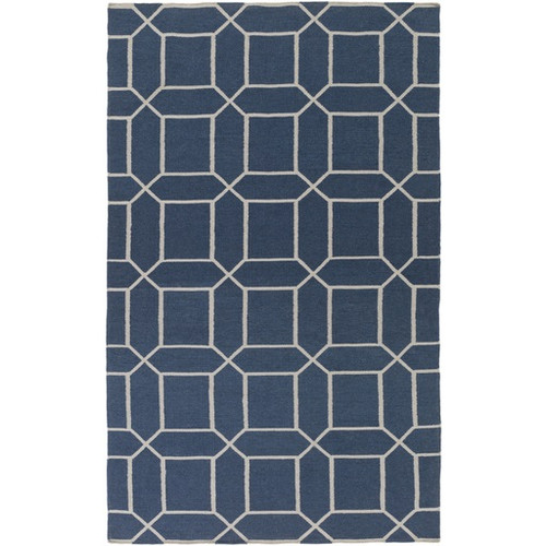 8' x 11' Innocuous Octagons Navy Blue and White Hand Woven Outdoor Area Throw Rug - IMAGE 1