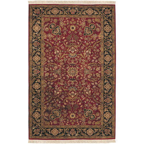 5.5' x 8.5' Floral Red and Green Hand Knotted Rectangular Wool Area Throw Rug - IMAGE 1