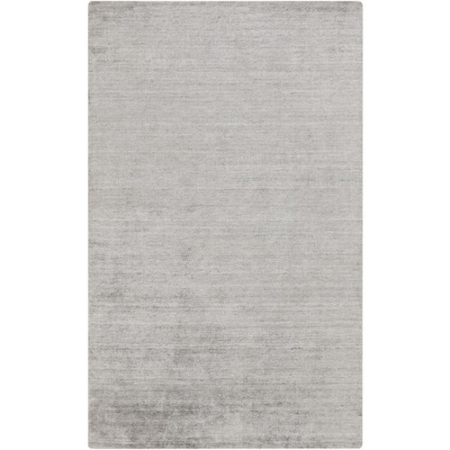3.5' x 5.5' Gray Solid Hand-Knotted Rectangular Area Throw Rug - IMAGE 1