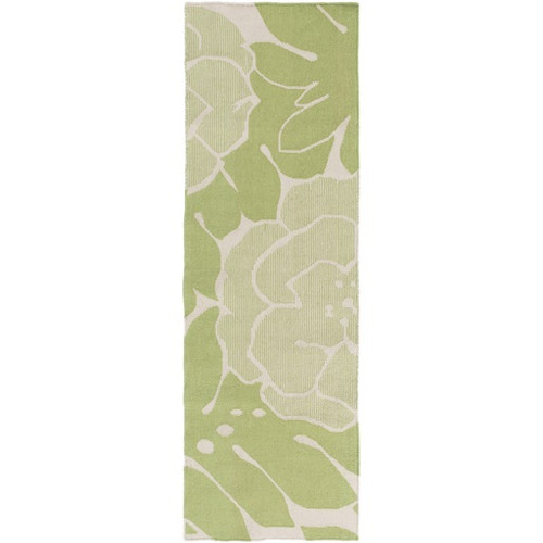 2.5' x 8' Devine Design Floral Forest Green and Light Gray Hand Woven Reversible Wool Area Throw Rug Runner - IMAGE 1