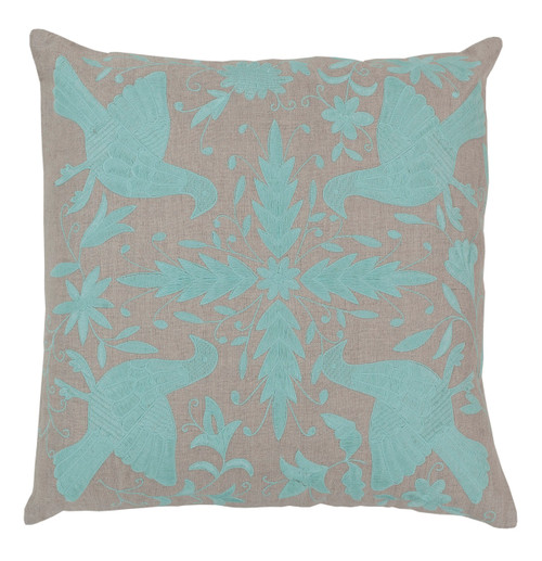 "22"" Abalone Gray and Sky Blue Contemporary Square Throw Pillow - Down Filler - IMAGE 1"