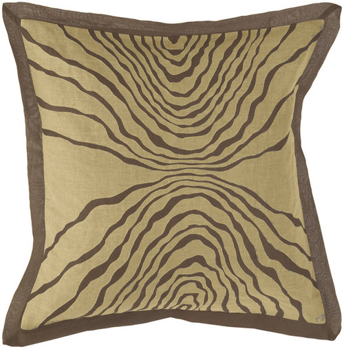 """18"""" Tan Brown and Beige Woven Square Throw Pillow - Down Filler - IMAGE 1"""