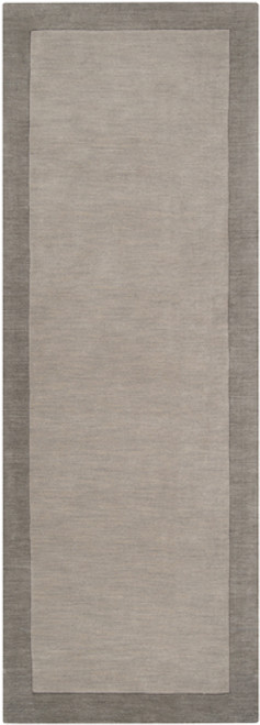 2.5' x 8' Neutral Light Gray Hand Loomed and Hand Carved Rectangular Wool Area Throw Rug Runner - IMAGE 1