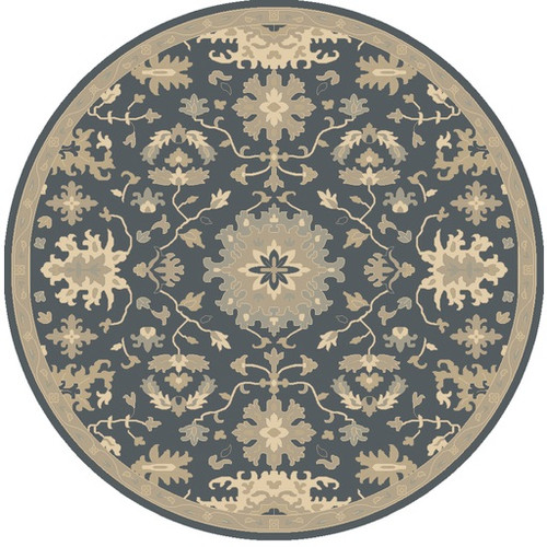 4' Classical Denim Blue and Brown Hand Tufted Round Wool Area Throw Rug - IMAGE 1