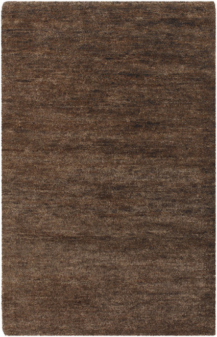 2' x 3' Solid Brown Rectangular Hand Woven Area Throw Rug - IMAGE 1