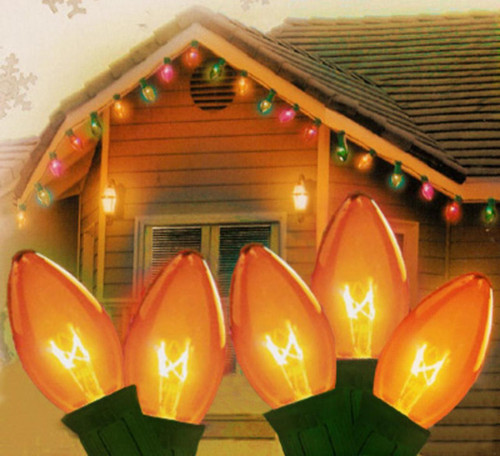 25-Count Amber Transparent C9 Christmas Light Set, 24ft Green Wire - IMAGE 1