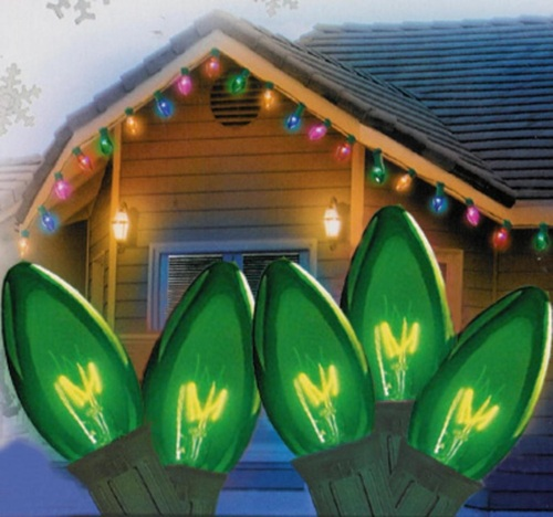 25-Count Green Transparent C9 Christmas Light Set, 24ft Green Wire - IMAGE 1