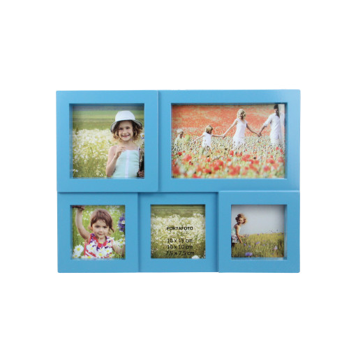 11.5 Blue Multi-Sized Puzzled Photo Picture Frame Collage Wall Decoration - IMAGE 1