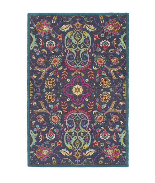 2' x 2.75' Kaleidoscopic Flowers Midnight Blue and Hot Pink Area Throw Rug - IMAGE 1