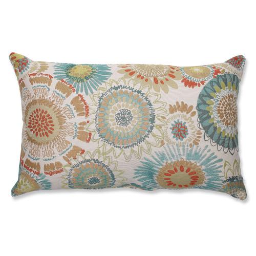 "18.5"" Aqua Blue and White Floral Rectangular Decorative Throw Pillow - IMAGE 1"