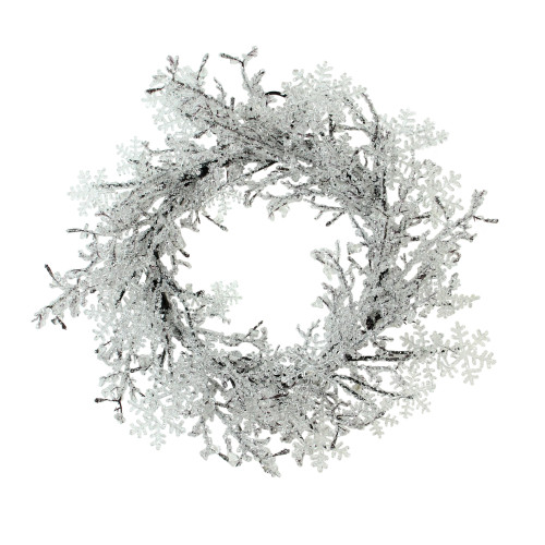 Clear Ice and Snowflakes on Black Twigs Artificial Christmas Wreath, 22-Inch - Unlit - IMAGE 1