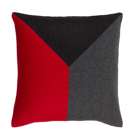 """20"""" Red and Pewter Gray Geometric Square Throw Pillow - Down Filler - IMAGE 1"""