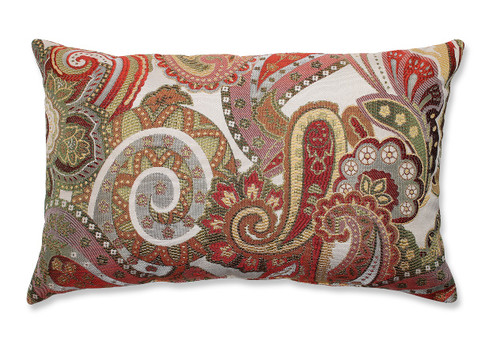 """18.5"""" White and Red Paisley Rectangular Decorative Throw Pillow - IMAGE 1"""