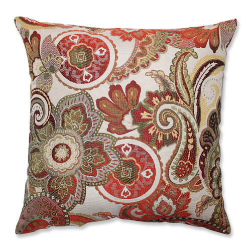 """18"""" White and Red Paisley Square Decorative Throw Pillow - IMAGE 1"""