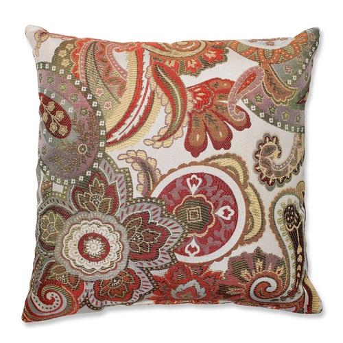 """16.5"""" White and Red Paisley Square Decorative Throw Pillow - IMAGE 1"""