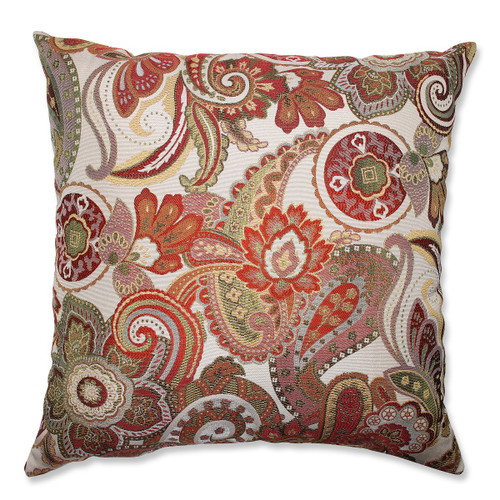 """24.5"""" White and Red Paisley Square Decorative Throw Pillow - IMAGE 1"""