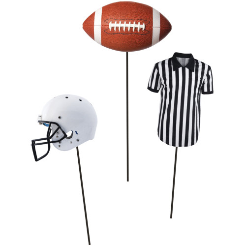 """Club Pack of 18 Black and White Football Party Game Day Cutout Centerpieces on Sticks 12"""" - IMAGE 1"""