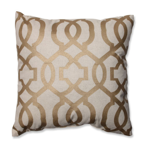 """16.5"""" Beige and Gold Geometric Patterned Square Throw Pillow - IMAGE 1"""
