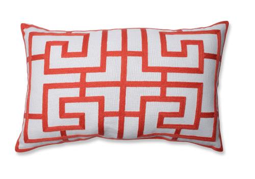 "18.5"" Red and White Geometric Rectangular Decorative Throw Pillow - IMAGE 1"