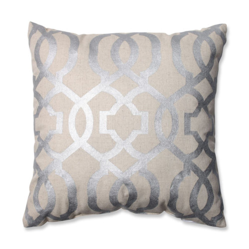 """16.5"""" Beige and Silver Geometric Patterned Square Throw Pillow - IMAGE 1"""