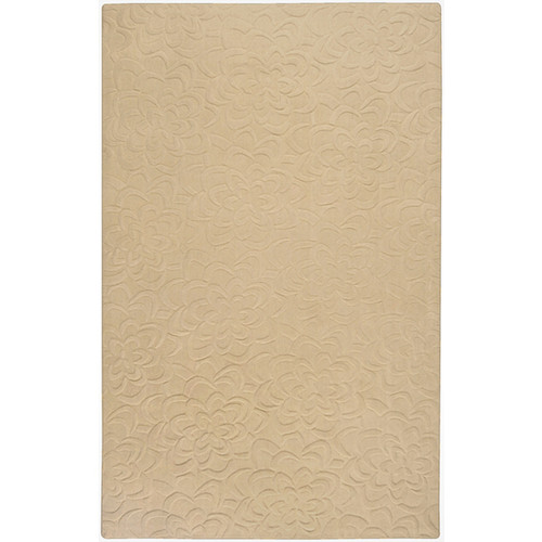 2' x 3' Bas-Relief Bouquet Khaki Brown Wool Area Throw Rug - IMAGE 1