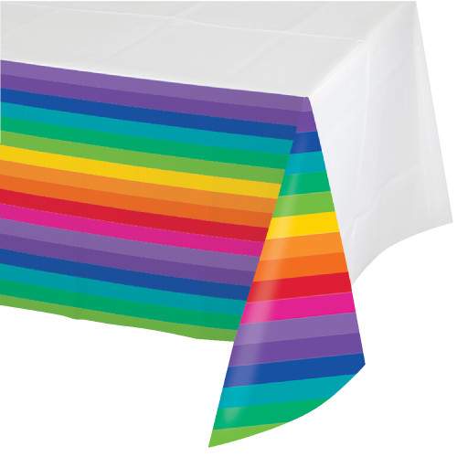 "Pack of 6 Vibrantly Colored Rainbow Disposable Rectangle Banquet Party Table Covers 108"" - IMAGE 1"