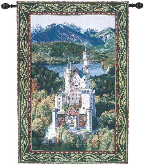 "Neuschwanstein Castle Cotton Wall Art Hanging Tapestry 80"" x 56"" - IMAGE 1"
