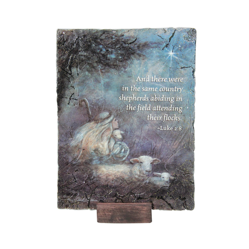 "7"" Subtle Colored Inspirational Luke 2:8 Religious Themed Christmas Rectangular Plaque - IMAGE 1"