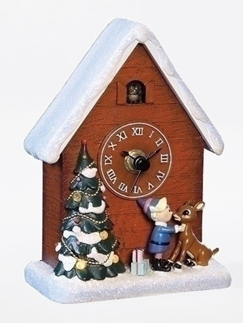 """6"""" Brown Battery Operated Musical Rudolph and Hermey Clock Christmas Tabletop Decoration - IMAGE 1"""